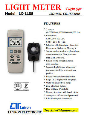 Lutron LX-1108 Digital Light Meter 4 Lighting Type 5 Ranges Lux & Foot Candle