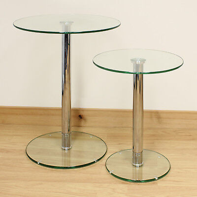 Hartleys Set of 2 Small/Large Round Clear Glass Side/End/Lamp Living Room Tables