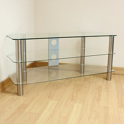 """Hartleys Large Clear Glass 3 Tier LED/LCD/Plasma TV Stand/Unit/Shelf Up to 42"""""""