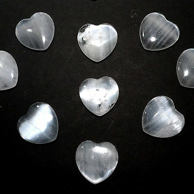 45mm Selenite Flat Heart Satin Spar Crystal Reiki Natural Palm Stone - 1pcs