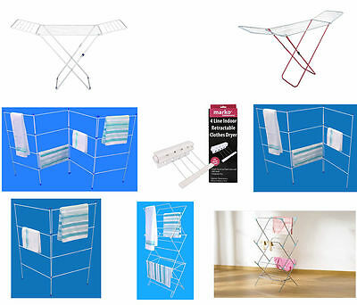 2 3 4 Fold Clothes Airer Concertina Drying Washing Line Rack Laundry Horse New