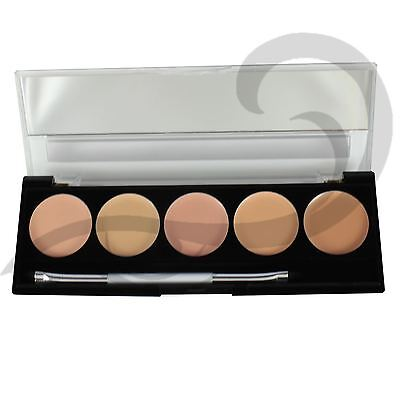 W7 Camouflage Kit Cream Concealer Contour Palette 5 Shades With Brush & Mirror