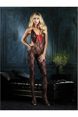 Leg Avenue Bow Lace Cut Out Bodystocking