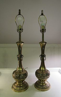 VTG Pair Brass Embellished Gothic Table Lamps Dolphin Food Dog Medieval Ring