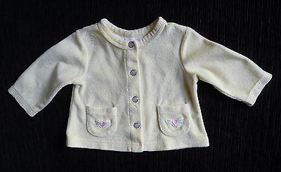 Baby clothes GIRL 0-3m soft yellow velour jacket/cardigan pockets heart SEE SHOP
