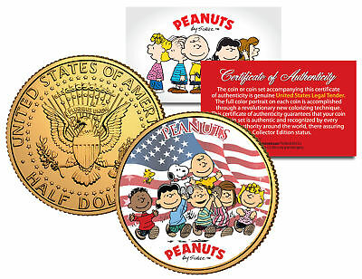 PEANUTS * Americana * CHARLIE BROWN Snoopy JFK Half Dollar Coin 24K Gold Plated