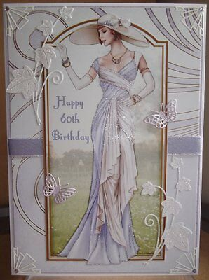 Art Deco Personalised Handmade 60Th Birthday Card A Elegant Lady In Lilac