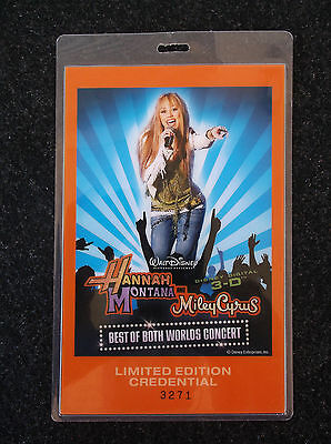 Ltd Edition Numbered MILEY CYRUS HANAH MONTANA 2008 TOUR CREDENTIAL PASS