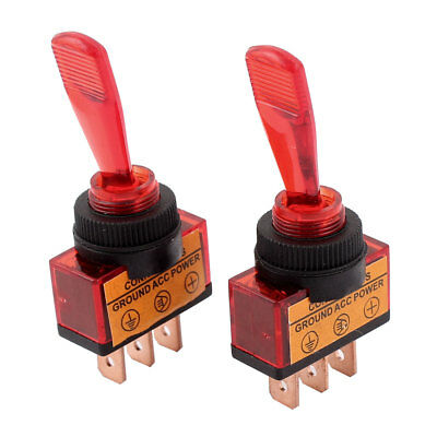 2 Pcs DC 12V 20A 12mm Thread SPDT 2-Position ON/OFF Red Car Toggle Switch