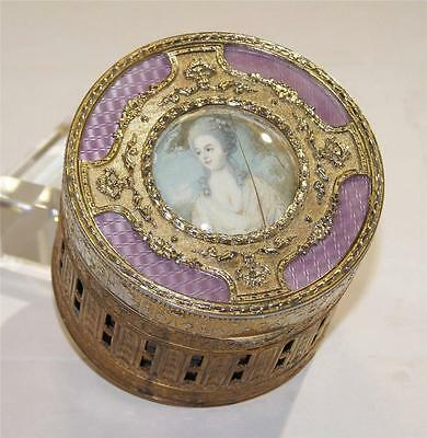 Antique French Gilt Brass Guilloche Lavender Enamel Painted Box circa 1915