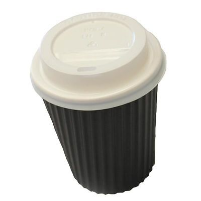 50 Sets x 8oz BLACK Ripple Double Wall Coffee Cups & Lids 230ml Disposable New