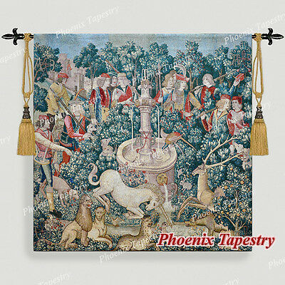 "LARGE Hunt of the Unicorn Medieval Art Tapestry Wall Hanging Cotton 55""x54"", US"