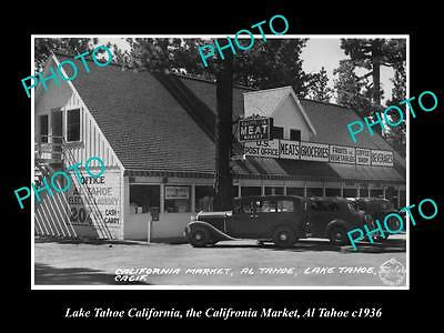 OLD LARGE HISTORIC PHOTO OF LAKE TAHOE CALIFORNIA, VIEW OF THE MEAT MARKET c1936