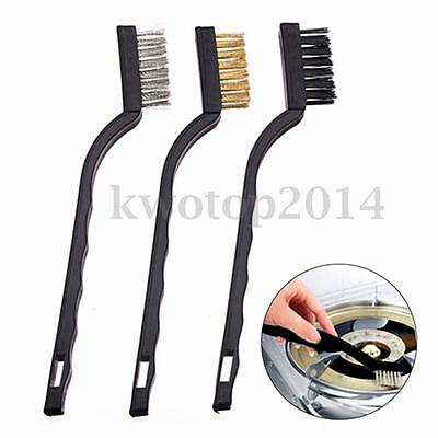 3Pcs Handy Brush Stainless Steel Nylon Brass Wire Brushes Set Cleaning Rust Kit