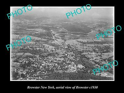 OLD LARGE HISTORIC PHOTO OF BREWSTER NEW YORK, AERIAL VIEW OF THE TOWN c1930