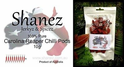 CAROLINA REAPER PODS   HOTTEST WHOLE DRIED Shanez 10g ~PEPPER  CHILLI