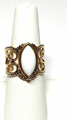 Coventry White and Gold tone Vintage Filigree Ring
