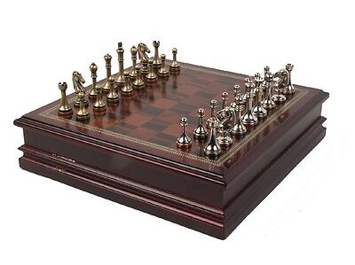 Wood Chess Metal Pieces Set Large King Wooden Storage Game Board Gift Travel Box