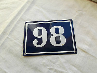 French blue & white house gate number 98  or 86 plate porcelain enamel solid
