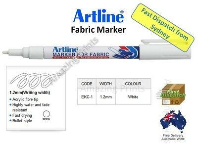 GENUINE Artline White Fabric Marker pen pack Laundry Cloth Textile Linen paint