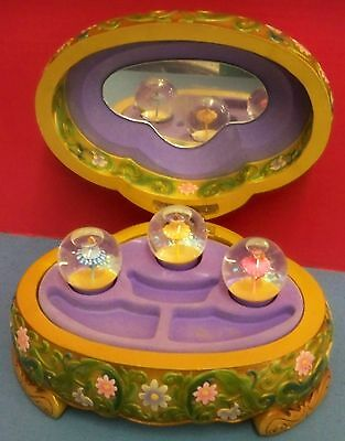Disney Princesses Jewelry Box Musical Water Globes Spin Beauty & the Beast Works