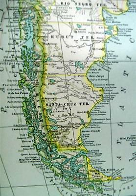 The Century Company Atlas Map Plate #72 South America Southern Part 1897 Vintage
