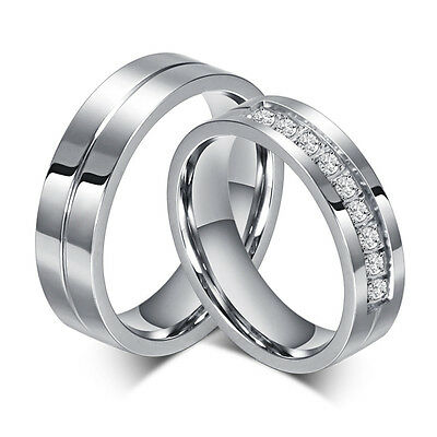 Silver/Gold CZ Couple Ring Titanium Steel Lover's Promise Band Valentine's Day