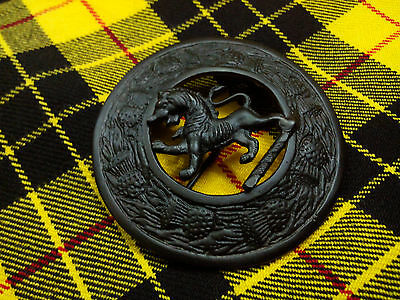 "SL Kilt Fly Plaid Brooch Lion Rampant Black Finish 3""/Scottish Fly Plaid Brooch"