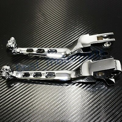 Skull Motorcycle Chrome Hand Levers Brake Clutch Controls for Harley-Davidson US