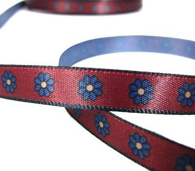 "5 Yards Dark Red Blue Daisy Flowers Daisies Satin Ribbon 3/8""W"