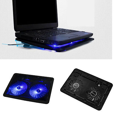 USB 2 Fans Port Cooling Cooler Pad For Laptops Notebook With LED Light USB Fans