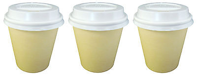 1000 Sets x 6oz TAN Single Wall Coffee Cups And Lids 177ml Paper Disposable