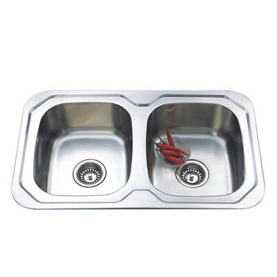 780*480*170mm Sink 2 Bowl Stainless Steel Round Edge for Kitchen Laundry
