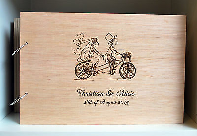 laser engraved on wood A5 guest book personalized, wooden wedding photo album