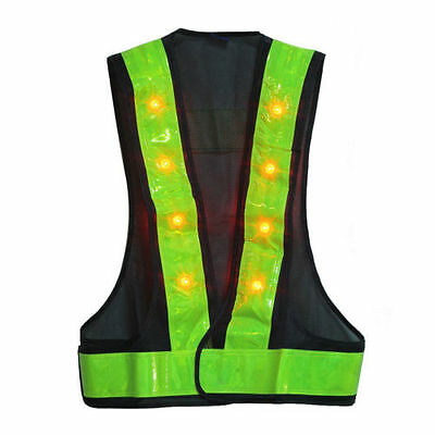 Adjustable LED Reflective Safety Vest Night Running Cycling Camping Outdoor