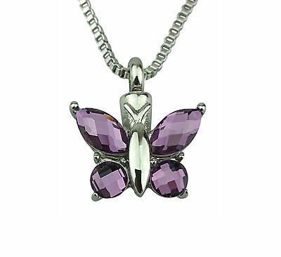 Cremation Jewellery - Memorial Ash Urn Pendant - Butterfly - Engraving Available
