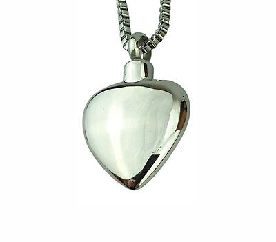 Cremation Jewellery - Memorial Ash Urn Pendant - Plain Heart - Engraving