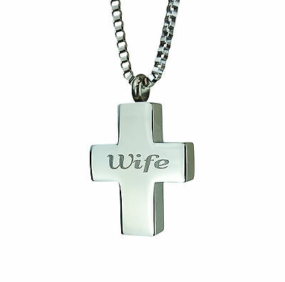 Cremation Jewellery - Memorial Ash Urn Pendant - Wife Cross - Engraving