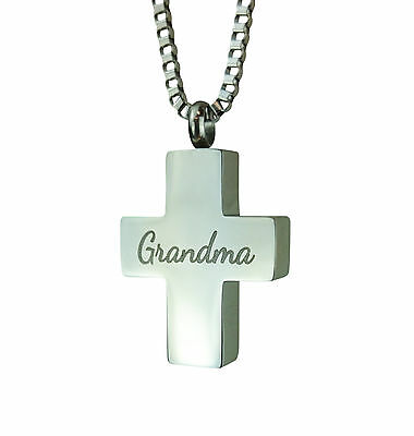 Cremation Jewellery - Memorial Ash Urn Pendant - Grandma Cross - Engraving