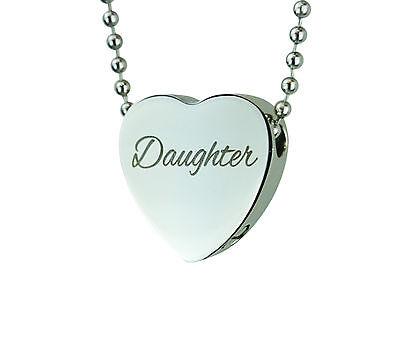 Cremation Jewellery - Memorial Ash Urn Pendant - Daughter Heart - Engraving