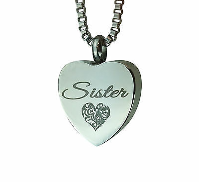 Cremation Jewellery - Memorial Ash Urn Pendant - Sister Heart - Engraving
