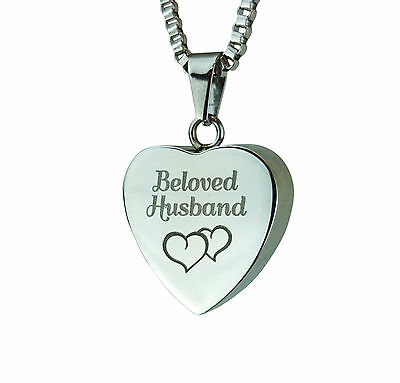 Cremation Jewellery - Memorial Ash Urn Pendant Beloved Husband Hearts Engrav
