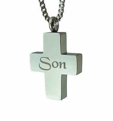 Cremation Jewellery - Memorial Ash Urn Pendant - Son Cross - Engraving