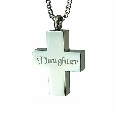 Cremation Jewellery - Memorial Ash Urn Pendant - Daughter Cross - Engraving