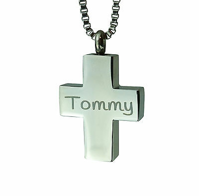 Cremation Jewellery - Memorial Ash Urn Pendant - Personalised Cross - Engraving