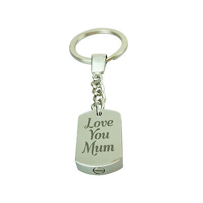 Cremation Jewellery - Memorial Ash Urn Keyring - Love You Mum - Engraving