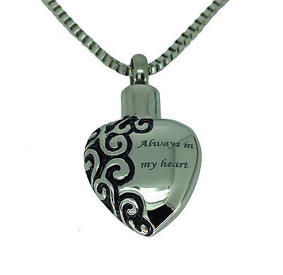 Always in my Heart Urn Pendant - Memorial Ash Cremation Jewellery - Engraving