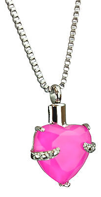 Cremation Jewellery Ashes Memorial Pendant Urn - Pink Heart - Engraving