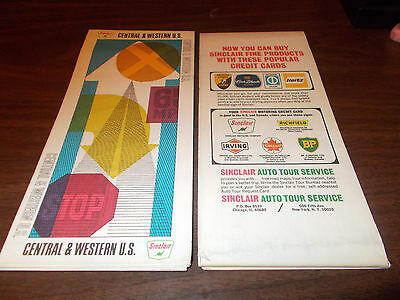 1969 Sinclair Central and Western US Vintage Road Map