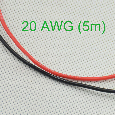 20 AWG (5m) Gauge #V Silicone Wire Wiring Flexible Stranded Copper Cables for RC